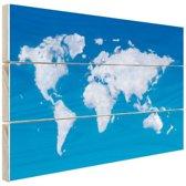 Wereldkaart wolken Hout 120x80 cm - Foto print op Hout (Wanddecoratie)