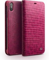 Qialino - echt lederen luxe wallet hoes - iPhone XS Max - Croco roze