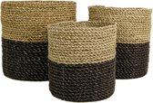 HSM Collection Mandenset - raffia/zeegras - naturel/zwart - set van 3
