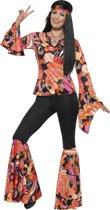 Willow the Hippie Costume Multi-Coloured with Top Trousers Headscarf & Medallion