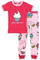 Kinderpyjama Sweet Dreams Cupcake roze met bedrukte broek - 98