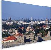 Uitzicht over de Oude stad van Rhodos Plexiglas 120x80 cm - Foto print op Glas (Plexiglas wanddecoratie)