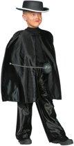 Carnavalskleding Zorro Zwarte omhang kort kind Maat 152