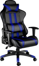 Gaming chair, bureaustoel Premium racing style zwart blauw 402031