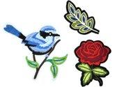 Strijk embleem 'Vogel in de natuur patch set (3)' – stof & strijk applicatie