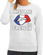 Kiss me I am French sweater grijs dames M