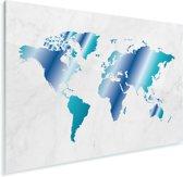 Wereldkaart met blauwe overloop en marmer Plexiglas 90x60 cm - Foto print op Glas (Plexiglas wanddecoratie)