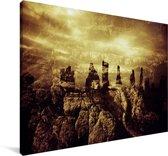 Okergele hemel bij de historische Calanais Standing Stones in Schotland Canvas 140x90 cm - Foto print op Canvas schilderij (Wanddecoratie woonkamer / slaapkamer)