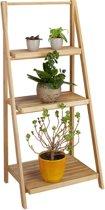 relaxdays plantenrek van bamboe - 3 etages - opklapbaar rek - natuurlijk hout - trapvormig