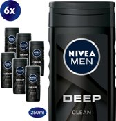 NIVEA MEN Deep Clean Douchegel - 6 x 250ml - Voordeelverpakking