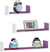 relaxdays wandplank set van 3 - boekenplank modern - wandboard U-vorm - 3 groottes - MDF Wit-Violet
