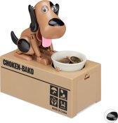 relaxdays Spaarpot hond - elektrisch - kinderen vanaf 6 jaar - spaarvarken - cadeau - deco A