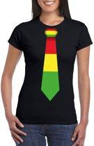 Zwart t-shirt met Limburgse vlag stropdas voor dames XL