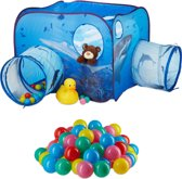 relaxdays 101-delige ballenbak set - speeltent haai - 100 ballen pop-up kindertent tunnel