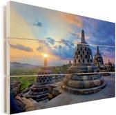 Kleurrijke lucht boven de Borobudur tempel Vurenhout met planken 120x80 cm - Foto print op Hout (Wanddecoratie)