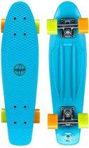 TOP Plastic Flipgrip-board - Skateboard - 22.5 inch - Blauw/Fluororanje/Fluorgeel