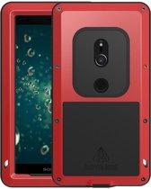 Metalen fullbody hoes voor Sony Xperia XZ2, Love Mei, metalen extreme protection case, zwart-rood
