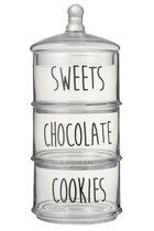 Snoeppot - Voorraadpot - 3 Niveaus - Cookies - Chocolate - Sweets - Glas - Transparant - Zwart