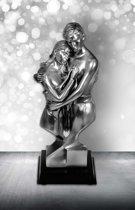 Beeld man & vrouw torso - 27 cm - Zilver