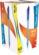 2x Paper Mate balpen InkJoy 100 RT, blauw, doos 80 + 20 gratis