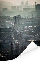 Mist boven Sarajevo hoofdstad van Bosnië en Herzegovina Poster 120x180 cm - Foto print op Poster (wanddecoratie woonkamer / slaapkamer) / Europese steden Poster XXL / Groot formaat!