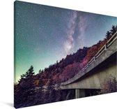 Herfst bij de Linn Cove Viaduct gelegen aan de Blue Ridge Parkway in Amerika Canvas 180x120 cm - Foto print op Canvas schilderij (Wanddecoratie woonkamer / slaapkamer) XXL / Groot formaat!