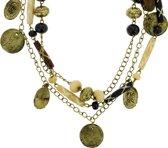 Lange antiek-goud-kleurige ketting met hangers