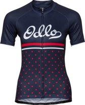Odlo Fietsshirt Fujin Print Stand-Up Collar S/S Full Zip - Diving Navy-Fiery Red - XL