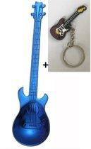 Theelepel gitaar RVS blauw 2 stuks + gratis gitaar sleutelhanger