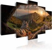 Schilderij - Zonsondergang in de Vallei,  5luik