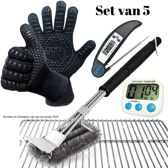 Set van 2 BBQ Handschoenen (Kevlar-Aramide), 1 BBQ Borstel met Schraper, 1 Zwarte Inklapbare Kookthermometer en 1 Digitale Kookwekker