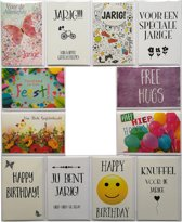 Verjaardagskaarten + 2 EXTRA – Set van 12