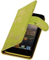 Lace Bookstyle Hoes voor Nokia Lumia 830 Groen