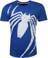 Marvel Spiderman Heren Tshirt -L- Acid Wash Spider Blauw