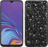 Let op type!! Glittery poeder schokbestendig TPU Case voor Galaxy A10 (zwart)