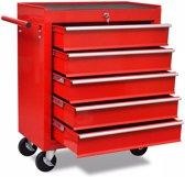 vidaXL Gereedschapswagen 5 lades rood
