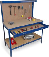 Hanse Werkzeuge Metalen Werkbank/Werktafel – lade – achterwand