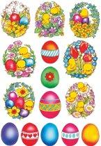 45x Gekleurde paaseieren stickers met bloemen en kuikentjes - kinderstickers - stickervellen - knutselspullen