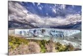 Kleurrijke omgeving bij de Perito Moreno gletsjer Aluminium 180x120 cm - Foto print op Aluminium (metaal wanddecoratie) XXL / Groot formaat!