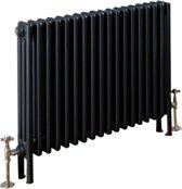 Design radiator horizontaal 3 kolom staal mat antraciet 60x83,3cm 1133 watt - Eastbrook Rivassa