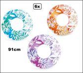 6x Intex zwemband roze/oranje/blauw 91 cm