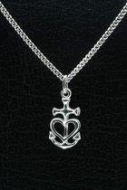 Zilveren Geloof hoop liefde ketting hanger - vast