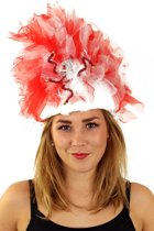 Fur hoed rood/wit