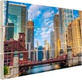 Chicago rivier Hout 60x40 cm - Foto print op Hout (Wanddecoratie)