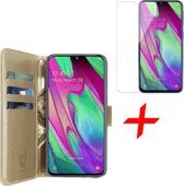 Samsung Galaxy A40 Hoesje + Screenprotector Case Friendly - Book Case Portemonnee - iCall - Goud