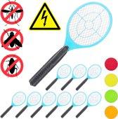 relaxdays 10 x elektrische vliegenmepper - tegen muggen - vliegenmepper elektrisch - blauw