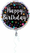 Helium Ballon Happy Birthday Stip Glitter 43cm leeg