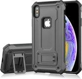Let op type!! Schokbestendige PC + TPU Armor beschermende case voor iPhone XS  met houder (grijs)