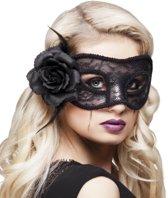 12 stuks: Masker Mystiek - Kanten - zwart