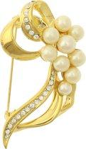Behave® Broche goud kleur met steentjes en parels 6,5 cm